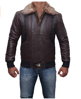 Vulture Belted Brown Fur Collar Bomber Style Mens Affordable Leather Jacket