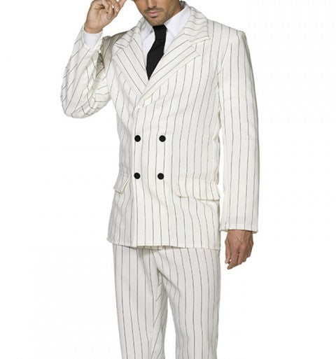 White Pinstripe Suit in Double Breasted Mens