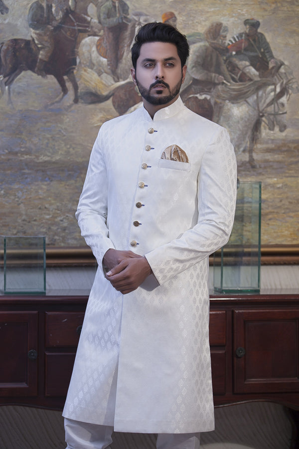 White Wedding Sherwani For Men