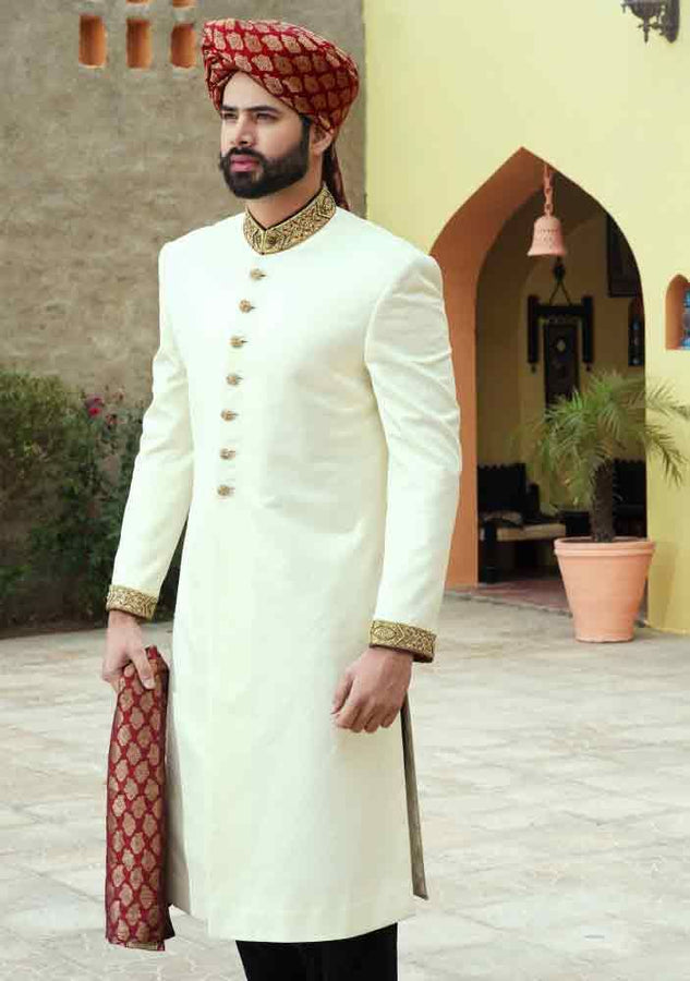 White and Gold Pakistani Sherwani