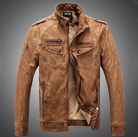 Cool Winter leather jacket for men