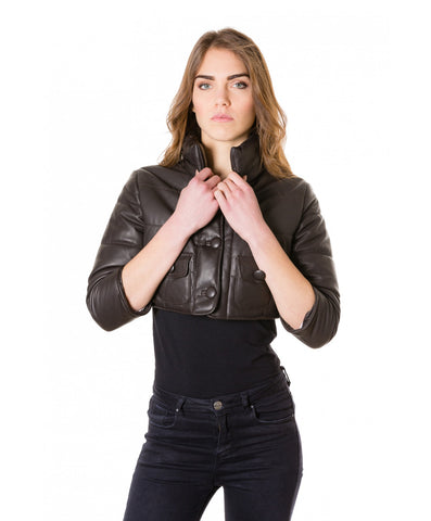 Great Woman short leather jacket
