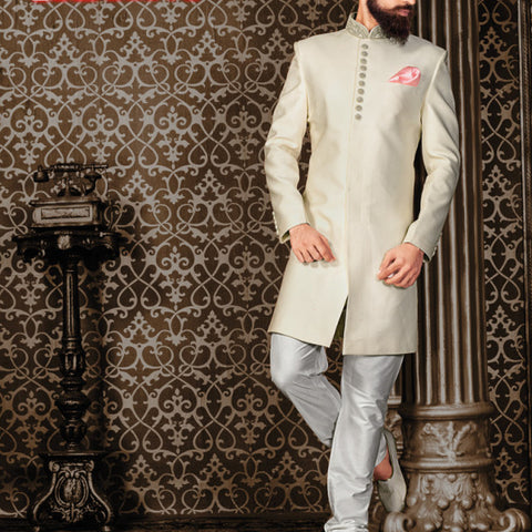 Luxury white sherwani for men