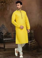 Yellow Indian Sherwani with cotton