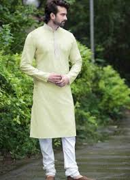 Yellow Poly Cotton Indian Casual Sherwani