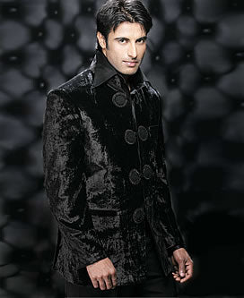 Black  Shiny Pakistani Sherwani