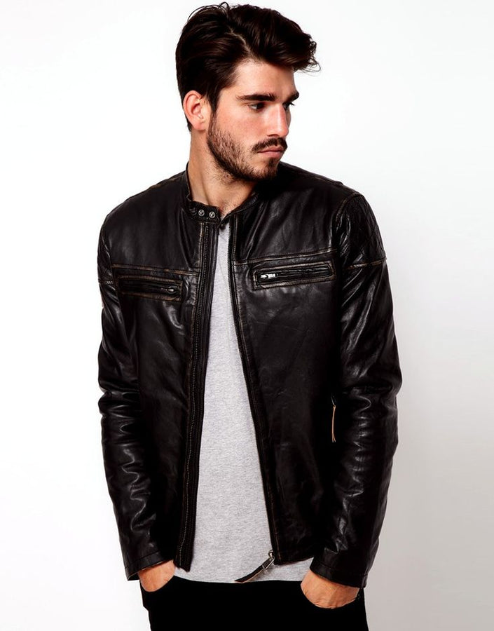 Genuine men leather jacket