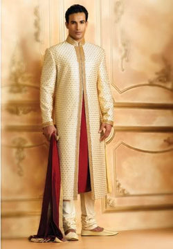 Gold and Red Pakistani Sherwani