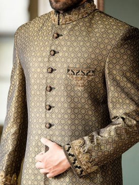 Golden Pakistani Sherwani