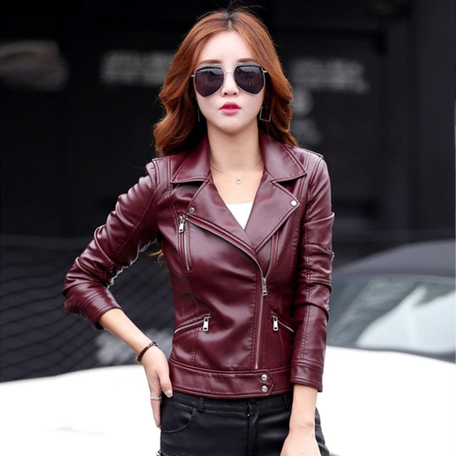 Leather jacket women short design