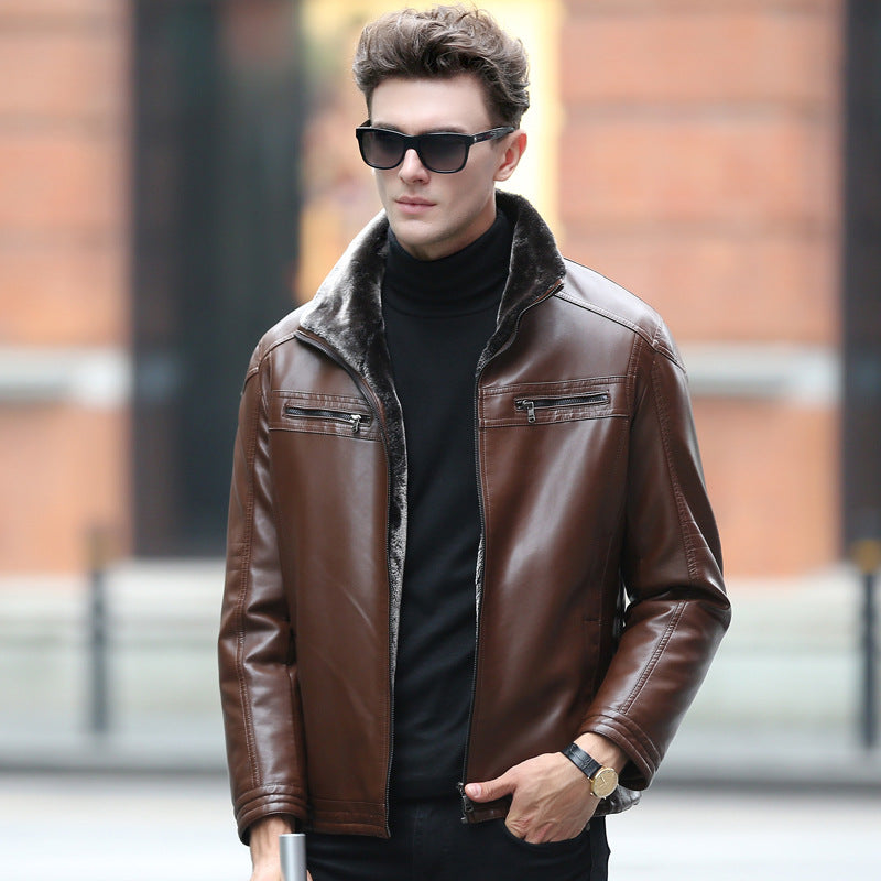 Men--leather-fur-collar-black-coffee-color-jackets-fashion