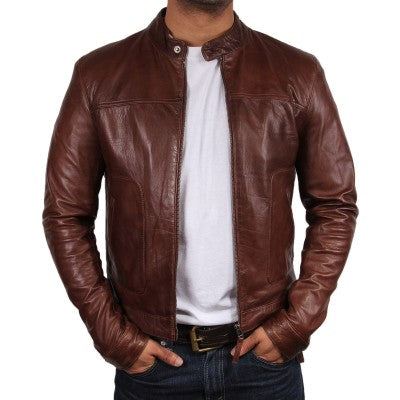 Luxury Brown Leather Jacket for Men
