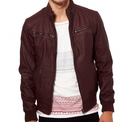 Men-maroon-color-ban-collar-biker-leather jacket