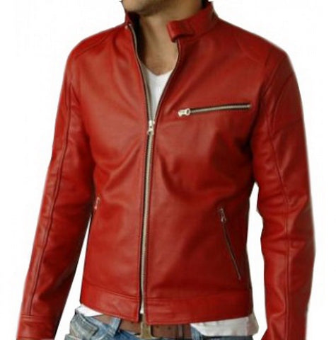 Men-red-biker-leather-jacket