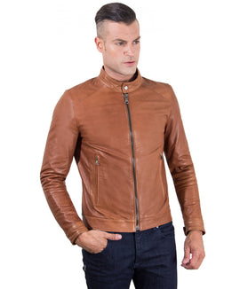 Men-leather-jacket-korean-collar-two-pockets-tan-color