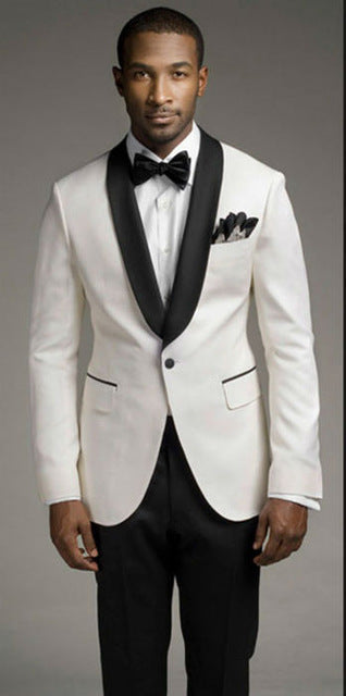 New white  suit and black satin