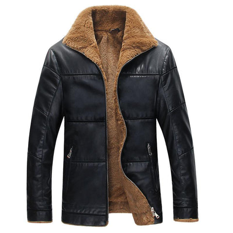 Winter warm leather jacket  for men