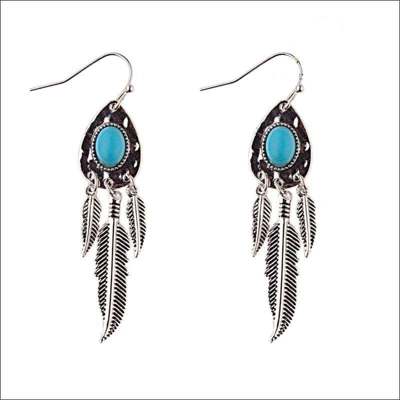 Turquoise Stone Feather Earrings - Your Expression Zone