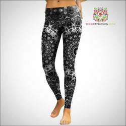Grey 3D Mandala Leggings - Your Expression Zone