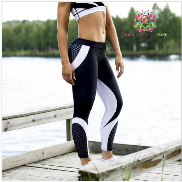 Black and White Honeycomb Leggings - Your Expression Zone