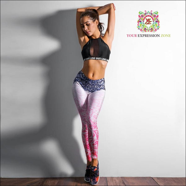 Black Lace Pink Leggings - Your Expression Zone
