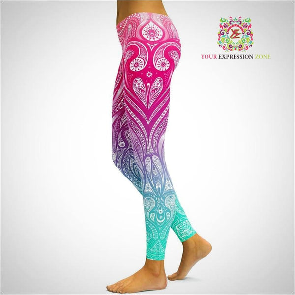 Blue and Pink Psychedelic Leggings - Your Expression Zone