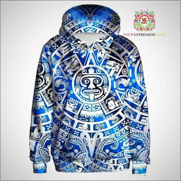 Blue and White Tribal Hoody - Your Expression Zone