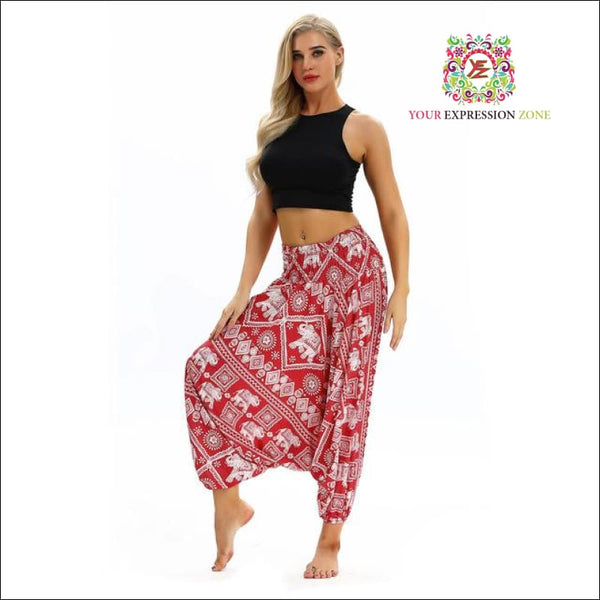 Blue/Red/Black Elephant Harem Pants - Your Expression Zone