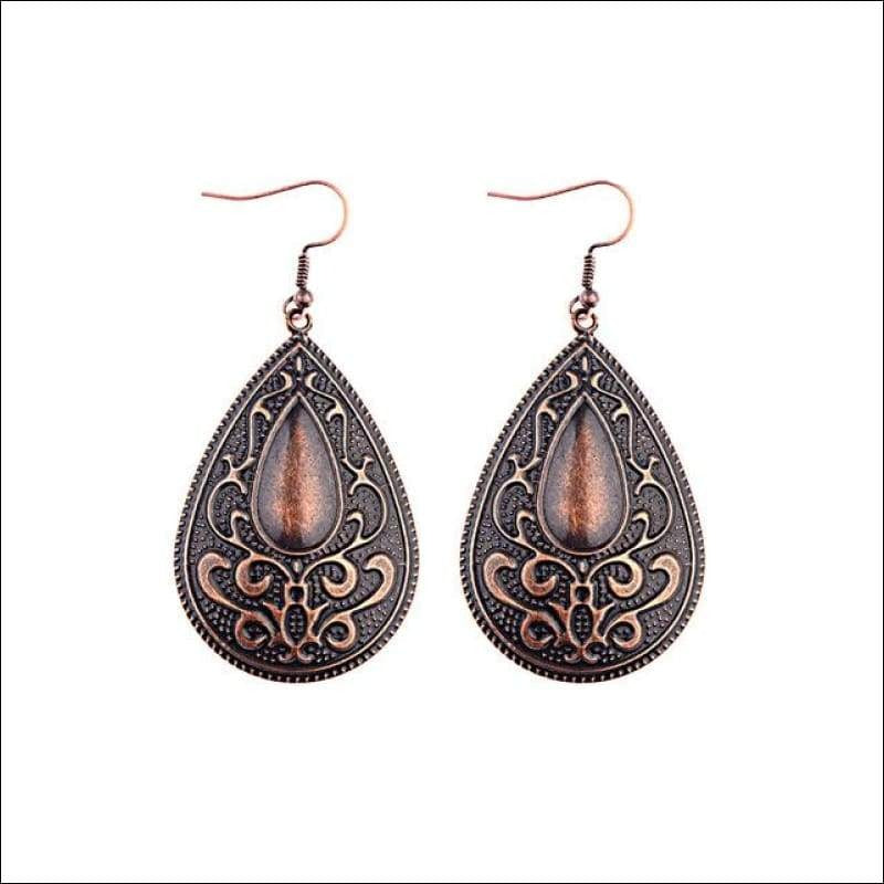 Intricate Brown Tear Drop Earrings - Your Expression Zone