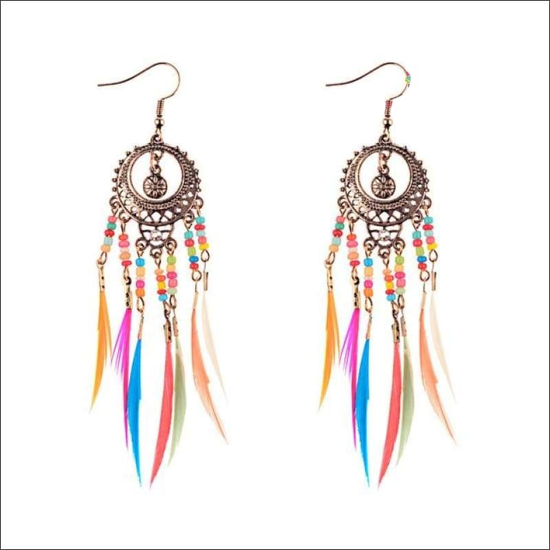 Pastel Beaded Feather Earrings - Your Expression Zone
