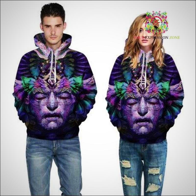 Psychedelic 3D Face Festival Hoodie - Your Expression Zone
