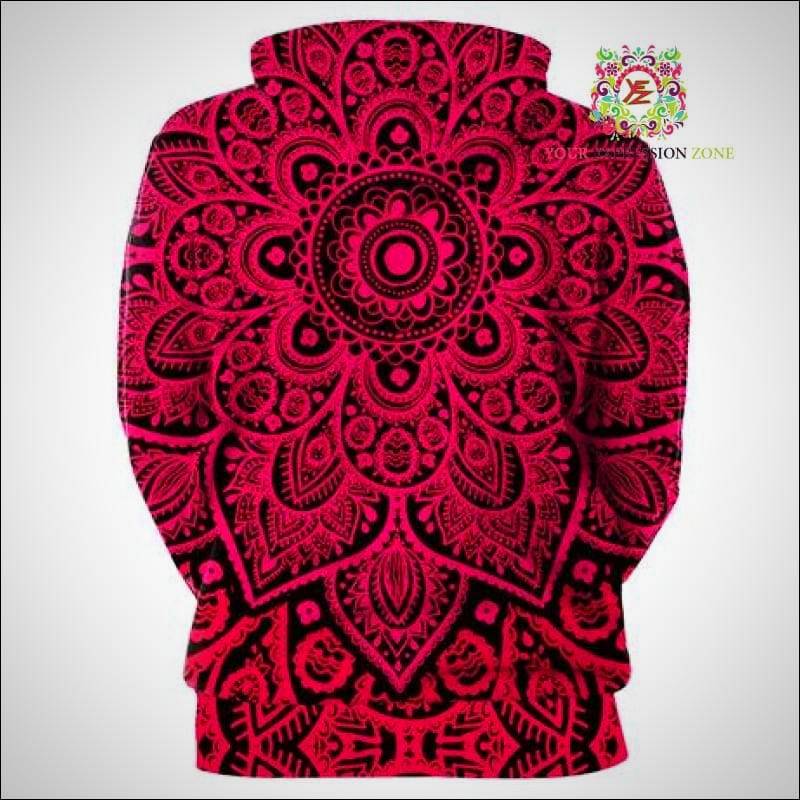 Red Pink Ombre Mandala Hoody - Your Expression Zone