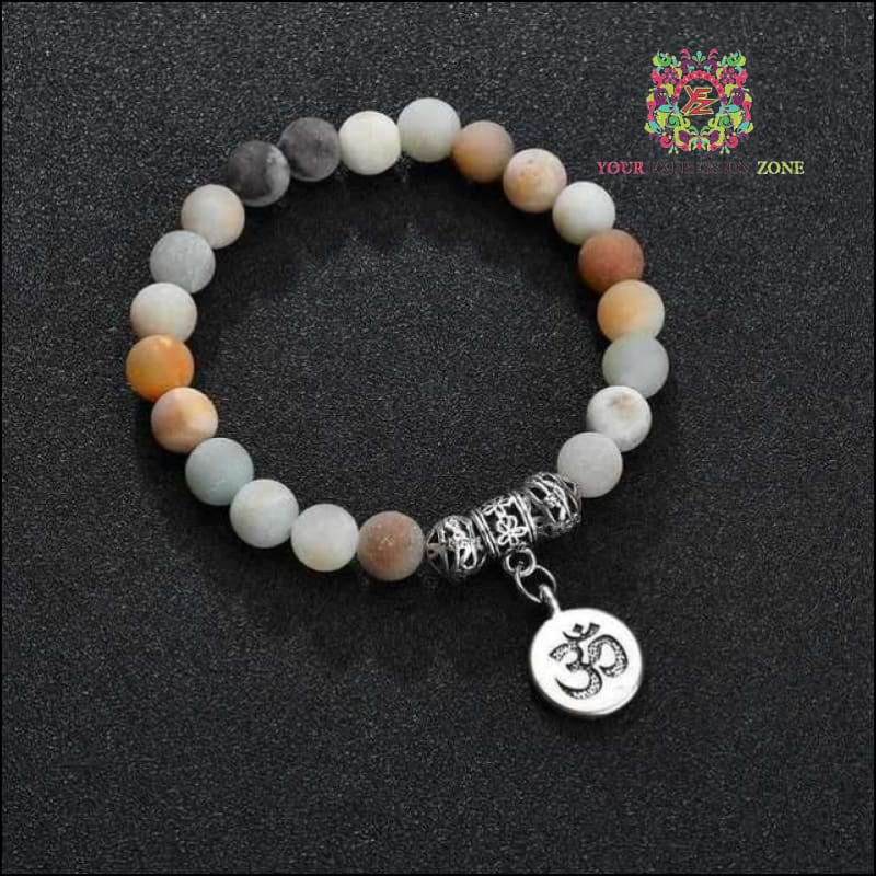 Om Milky-Bead Anklet Bracelet - Your Expression Zone