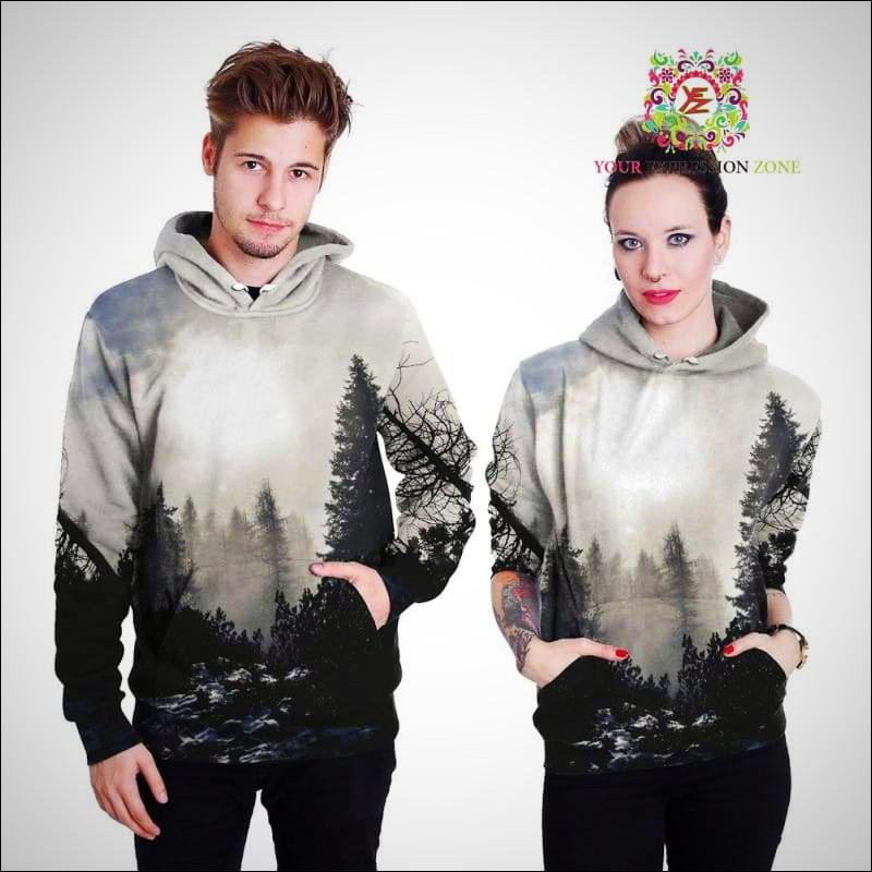 Grey and White Forest Hoody - Your Expression Zone