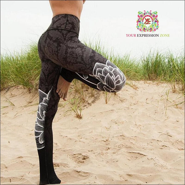 Grey Lotus Flower Leggings - Your Expression Zone