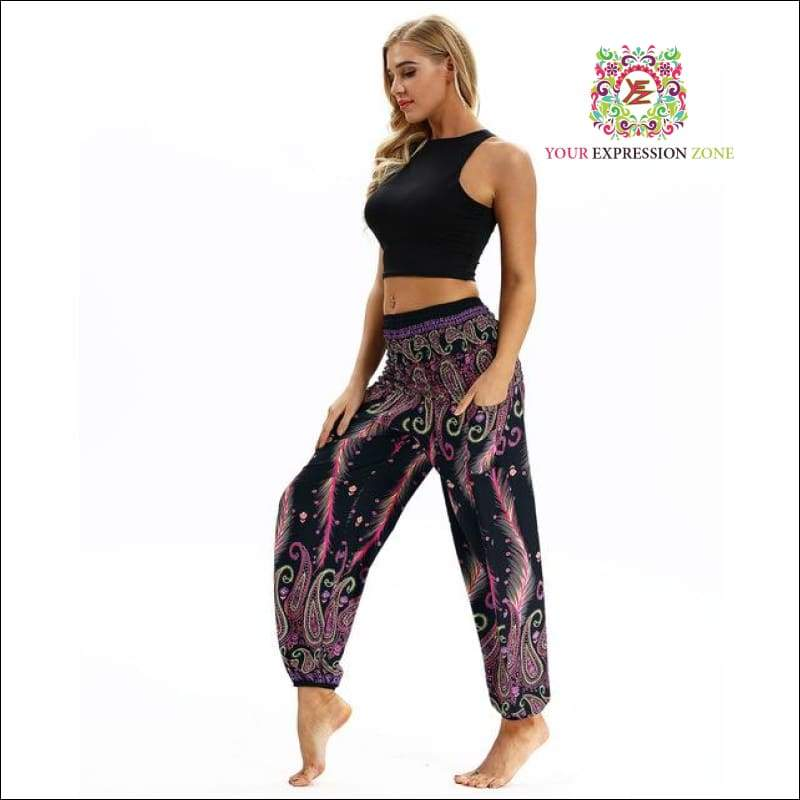 Multicolour Feather Boho Hippy Pants - Your Expression Zone