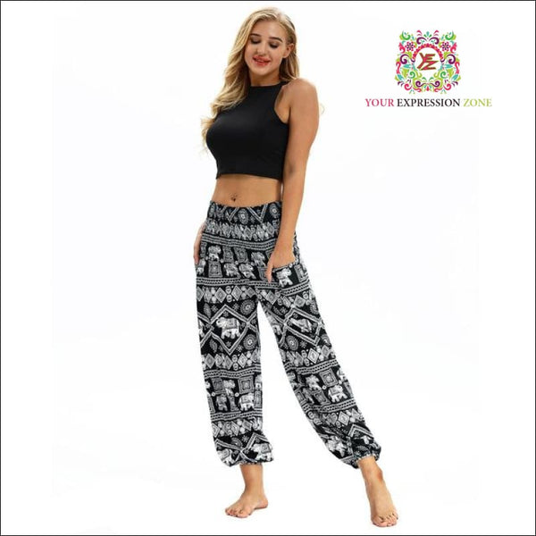 Bright Red/Blue/Black Elephant Hippie Pants - Your Expression Zone