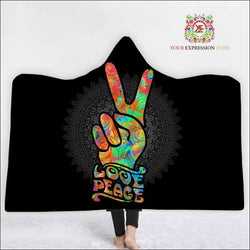 Peace and Love Hooded Blanket - Your Expression Zone