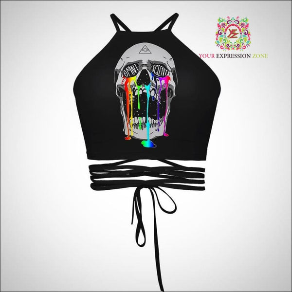 Multicolor Dripping Paint Skull Crop Top - Your Expression Zone