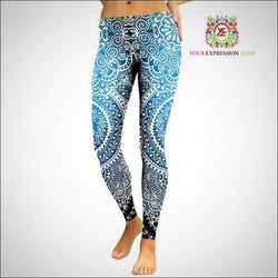 Blue and White Ombre Leggings - Your Expression Zone