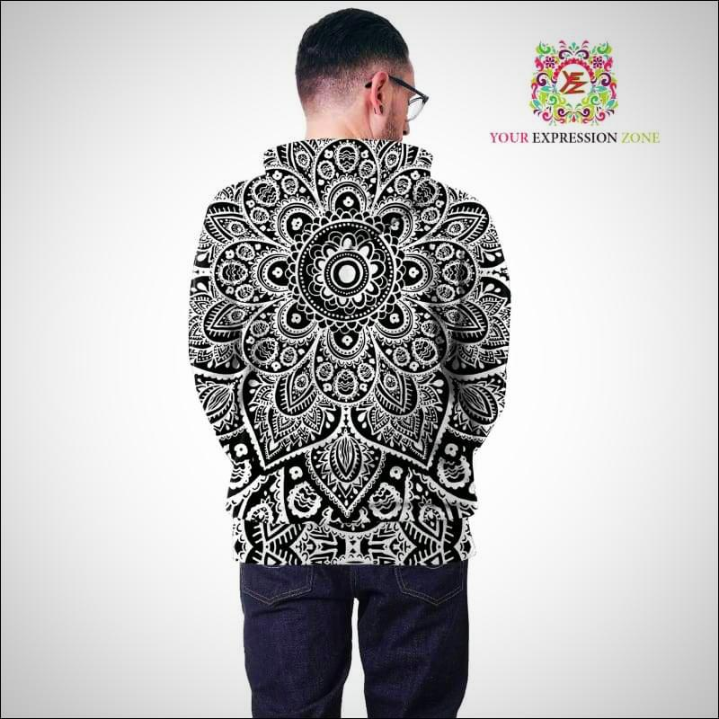 Black and White Mandala Hoody - Your Expression Zone