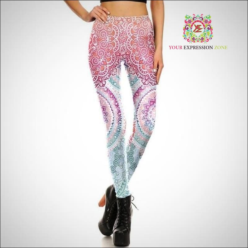 Pastel Mandala Flower High Waist Leggings - Your Expression Zone