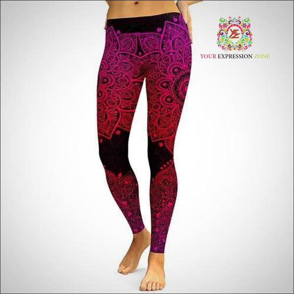 Pink and Black Aztec Mandala Leggings - Your Expression Zone
