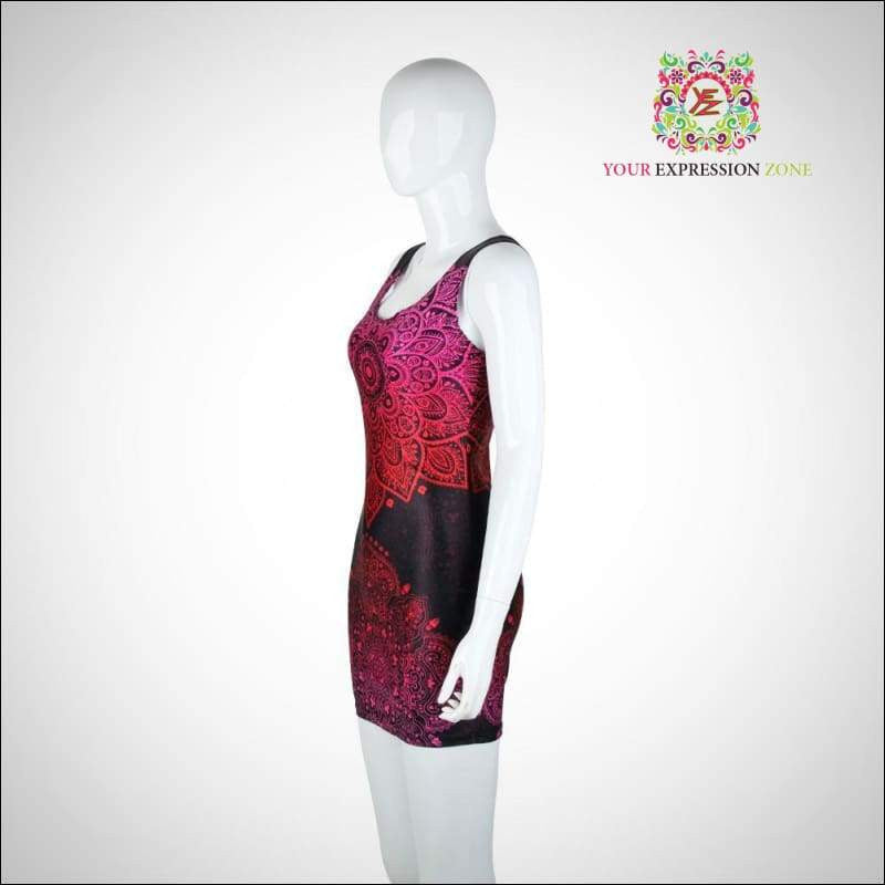 Pink and Black Aztec Mandala Tank Dress - Your Expression Zone