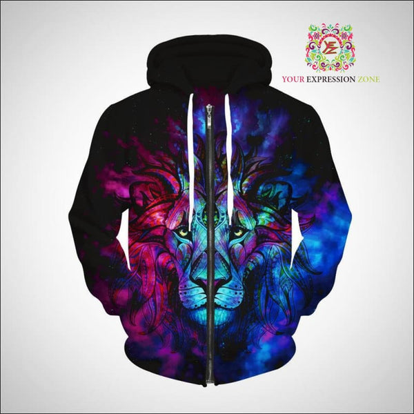 Psychedelic King Of The Jungle Zip Hoody - Your Expression Zone