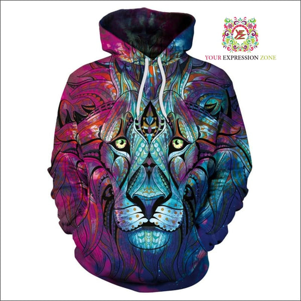 Psychedelic Lion Hoody - Your Expression Zone