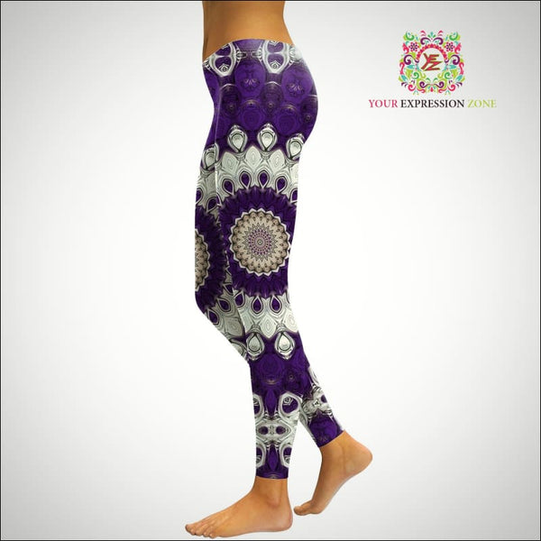 Purple and White Mandala Leggings - Your Expression Zone