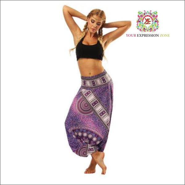Red/Blue/Purple Boho Hippie Pants - Your Expression Zone