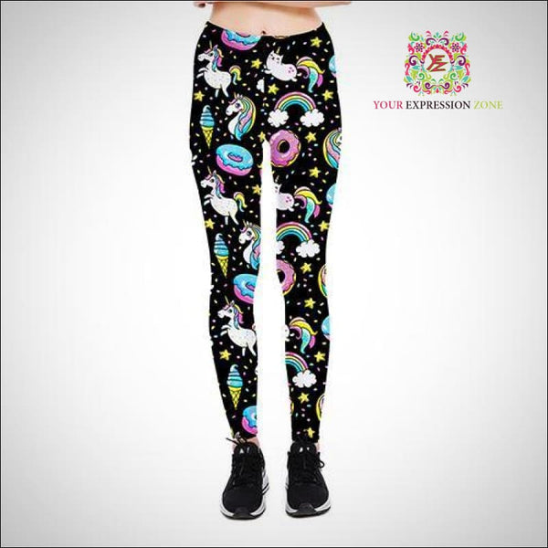 Unicorn and Donuts Black Leggings - Your Expression Zone