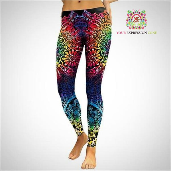 Vibrant Rainbow Mandala Leggings - Your Expression Zone